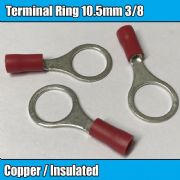 Red Terminal 10.5mm 3/8 Insulated Wire Cable Copper Connector Crimp Eyelet Ring